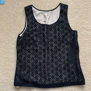 J. Crew black lace lined women's top size 6